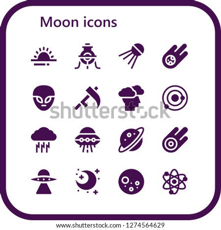 moon icon set. 16 filled moon icons. Simple modern icons about  - Sunrise, Alchemy, Sputnik, Meteorite, Alien, Scythe, Storm, Solar system, Ufo, Planet, Asteroid, Aliens, Night