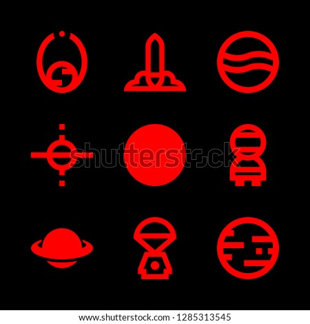 9 moon icons with astronaut and spacecraft in this set