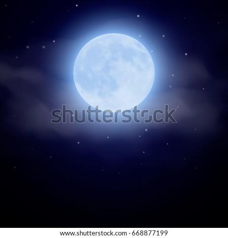 moon if fog at dark night