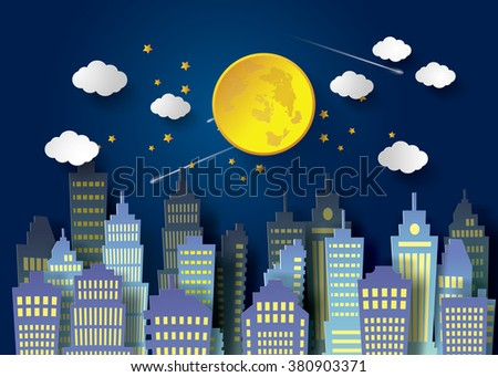 moon night sky  and  urban