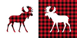 Moose buffalo plaid  set. Vector illustration woodland  animal . Lumberjack  clipart.