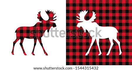 Moose buffalo plaid  set. Vector illustration woodland  animal . Lumberjack  clipart.  stock photo