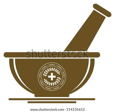 Mortar & Pestle Sign - Herbal Medicine Concept