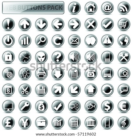 60 most popular web icons in one mega pack, dark version