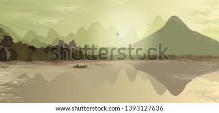 mountain landscape in green