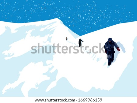 3 mountaineers hiking on a