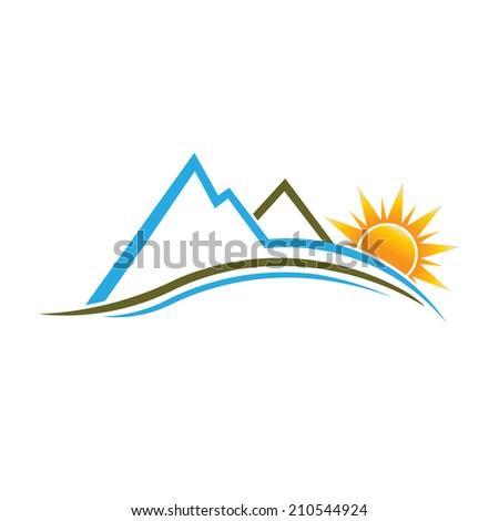 Mountains and Sun image. Vector design