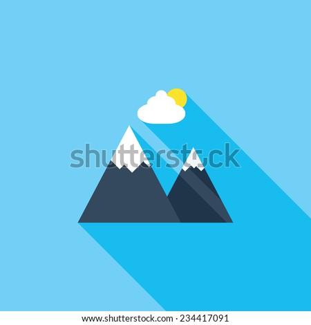 mountains flat icon modern