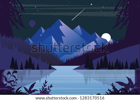 mountains on the background of a lake at night and a falling star and on the sides a green forest