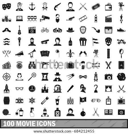 100 movie icons set  simple