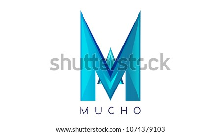 Shutterstock (MUCHO) M letter beautiful logo design in facets style