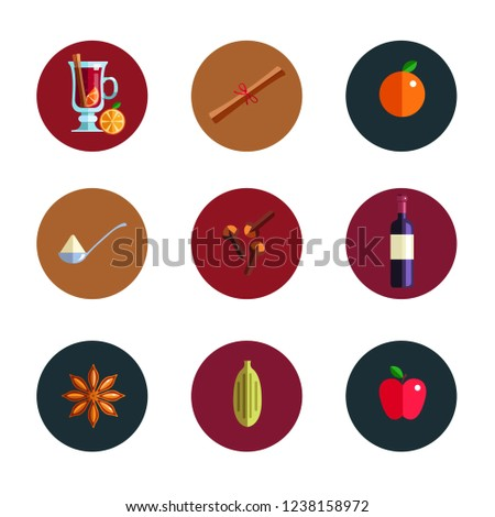 mulled wine infographic concept winter season hot drink icons vector illustration in flat style