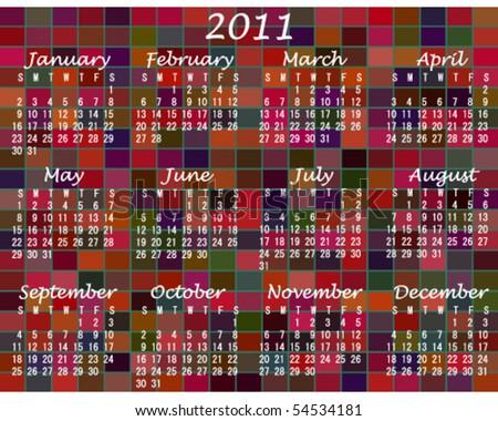 2011 Multi-Colored Calendar