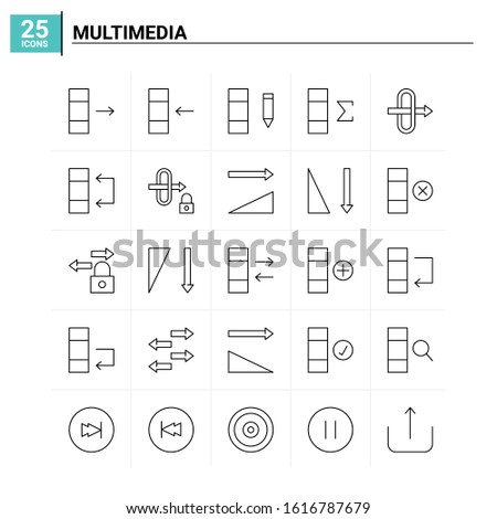 25 Multimedia icon set. vector background