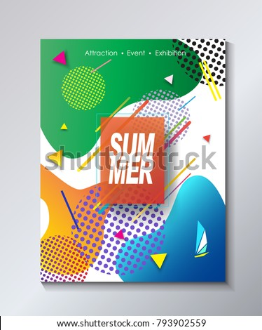 2018 music festival carnival posters, flyers, brochure covers set with abstract dynamic geometric shapes and lines, music elements, tropical exotic modern style vector illustration. Kids Camp Sport