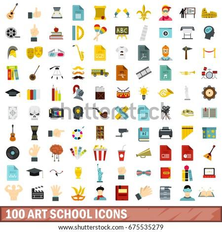 100 music flat icons set. Illustration of 100 music flat vector icons isolated on white background