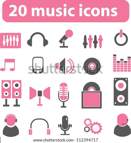 20 music icons set, vector