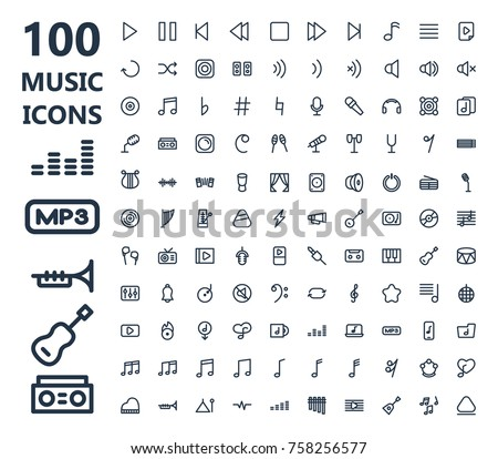 100 music icons set with guitar sound wave dj set music icons symbol concert musical instruments like ukulele saxophone trumpet piano and other music icons. Isolated music icons illustrations.