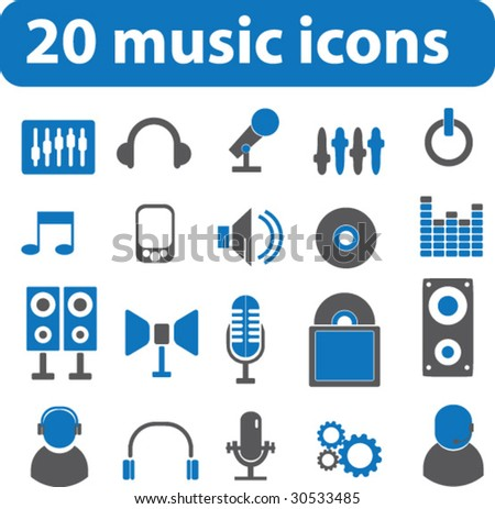 20 music iconsvector stock vector