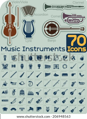 70 music instruments icons