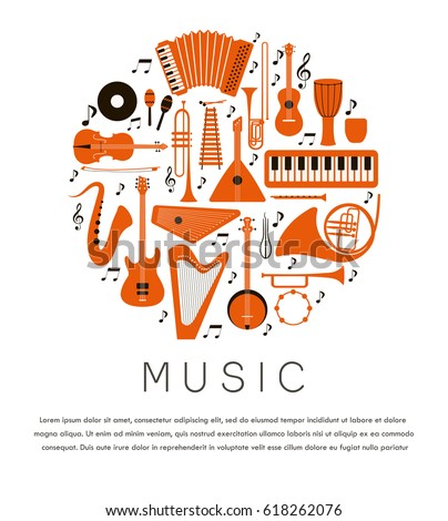 Music instruments - vector silhouette illustration. Isolated icon set.  Round concept