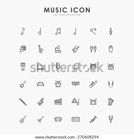 36 music minimal line icons