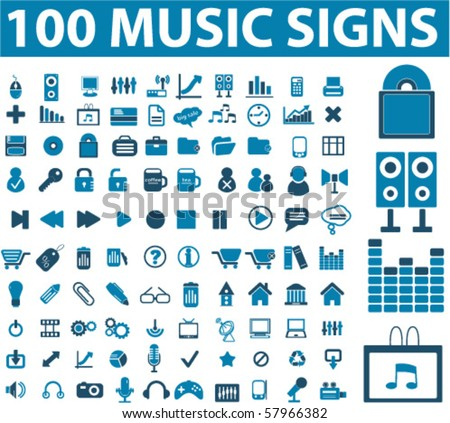 stock vector : 100 music signs. vector