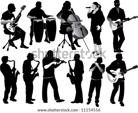 11 Musician Silhouettes - stock vector