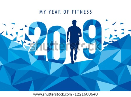 2019 My Year of Fitness New Year Motivational Typography Poster with Individual and crystal text triangular scatter Design