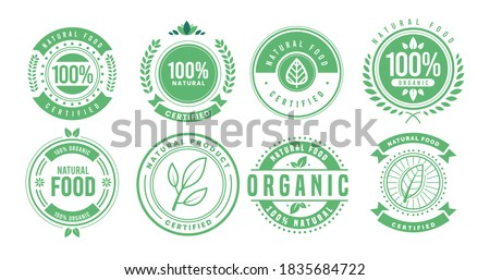 100% natural badge label collection. Organic healthy vegan food labels. Natural, fresh, organic food stickers collection. Vector graphic premium design.