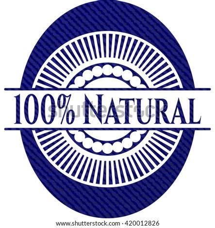 100% Natural badge with denim texture