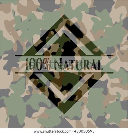 100% Natural camouflaged emblem