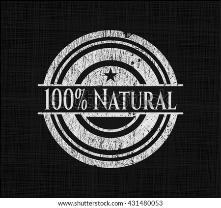 100% Natural chalkboard emblem written on a blackboard