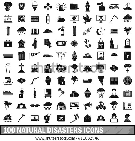 100 natural disasters icons set