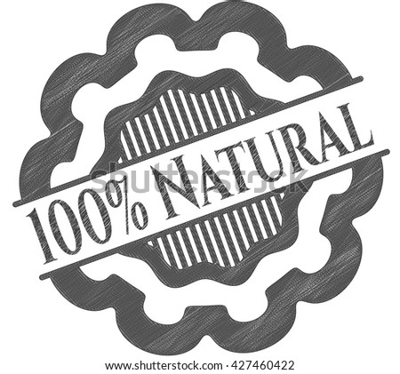 100% Natural emblem draw with pencil effect