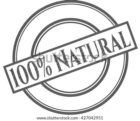 100% Natural emblem with pencil effect