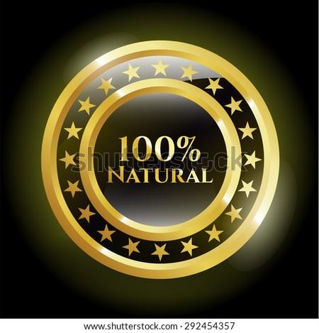 100% Natural gold shiny emblem