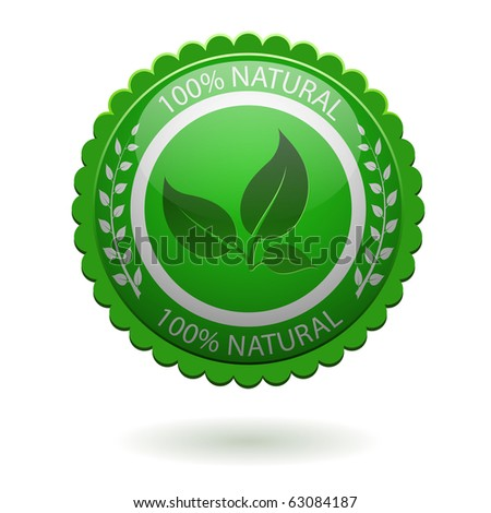 100% natural green label isolated on white. EPS10 file.