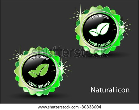100 % Natural  icon-Vector illustration