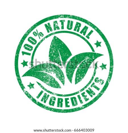 100% Natural Ingredients Stamp print