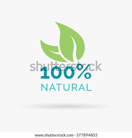 100% natural logo design. Organic product symbol. Natural design with green leaf icon. Vector illustration.