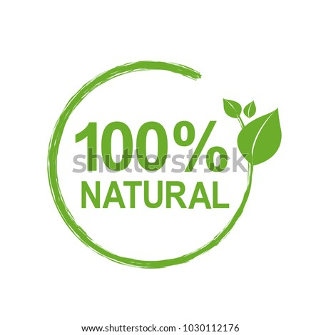 100% Natural Logo Symbol, Vector Illustration #1030112176
