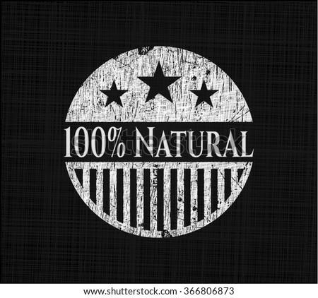 100% Natural on chalkboard