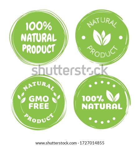 100% natural product. Green sticker brush calligraphy for inscriptions. Natural product as a banner, postcard, advertising. Vector of ecological nature.
