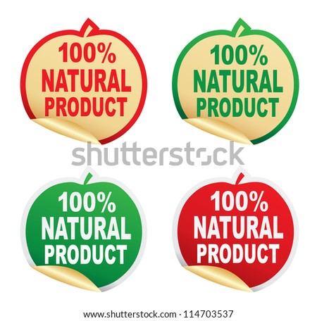 100% natural  product stickers. Vector