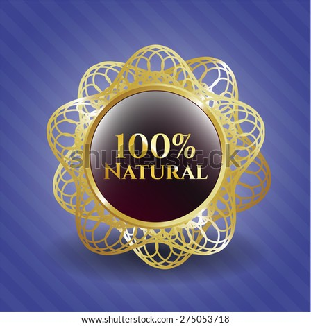 100% Natural red shiny badge with blue background