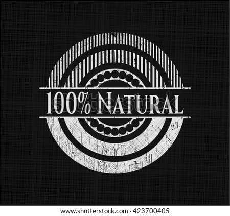 100% Natural written with chalkboard texture
