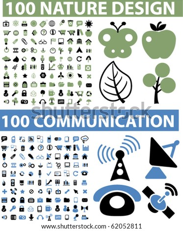 200 nature & communication signs. vector