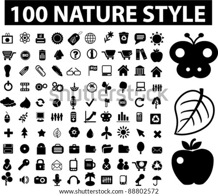 100 nature & ecology icons set, signs, vector