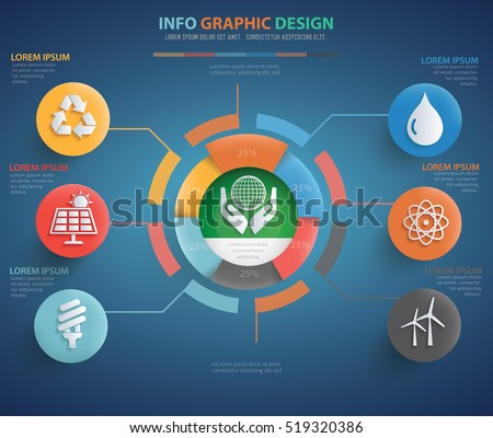 Nature,ecology info graphic design on blue background,vector